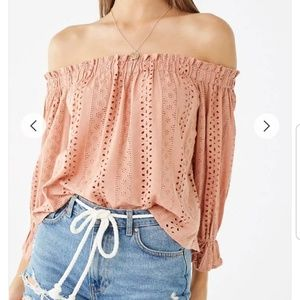 Blush Eyelet Off The Shoulder Top